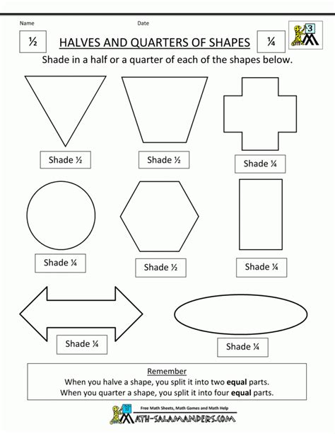 kindergarten fraction shape worksheets identifying