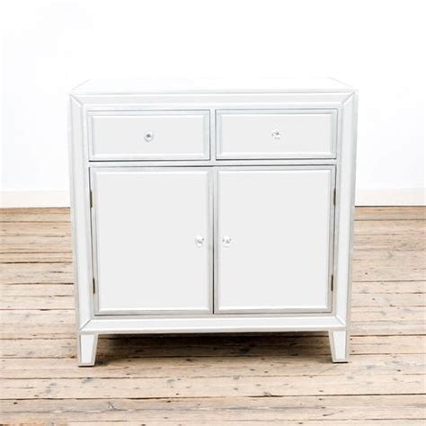 Small Mirrored Sideboard by Argenti Silver Leaf Mirrored Small Sideboard 86 X 48 X 86cm