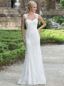 Sincerity 3885 queen anne lace straight bridal dress for Queen anne wedding dress