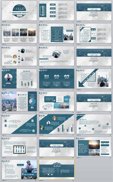 blue business report professional powerpoint templates