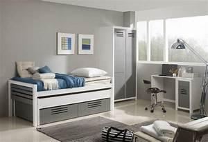 Chambre Complete Garcon : marlone ensemble chambre d 39 enfant blanc et argente couchage 90 x 190 ~ Teatrodelosmanantiales.com Idées de Décoration