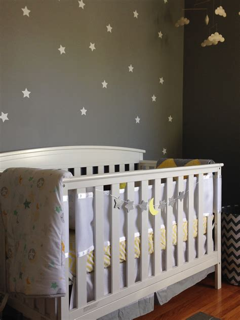 yellow  gray celestial nursery project nursery