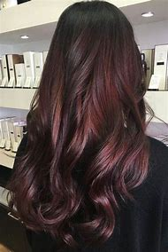 Dark Brown Burgundy Hair Color with Highlights