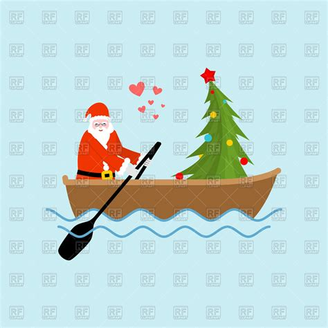 Boat Ride With Santa by Santa Claus And Tree On Boat Ride Vector Image