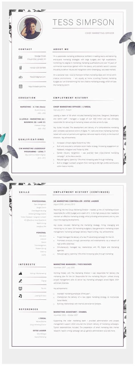 Cv Advice by Cv Template Creative Resume Template Two Page