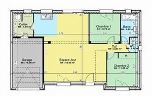 plan et photos maison 2 chambres de 76 m2 With plan gratuit de maison 15 plan daccas et contact