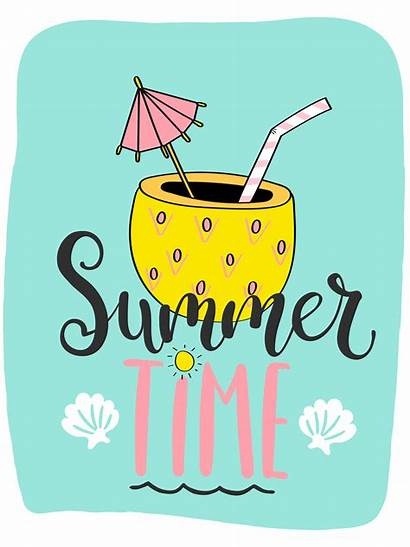 Summer Pineapple Card Vector Bright Lettering Cocktail