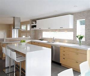 White Oak Kitchen Cabinets with Gloss White Accents