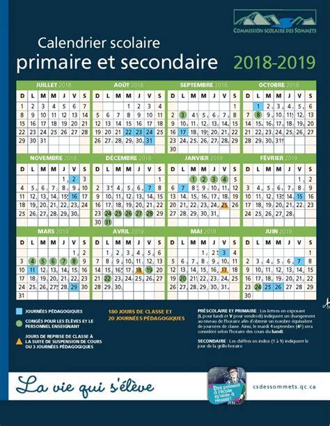 Csscalendrier20182019  École Secondaire De L'odyssée