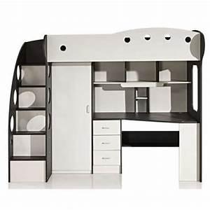 Lit Mezzanine Blanc : lit mezzanine 90x190 cm sunny coloris blanc gris vente de lit enfant conforama ~ Teatrodelosmanantiales.com Idées de Décoration