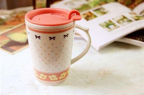 !ceramic Breakfast Milk Mug With Lid Lace Pattern Painting