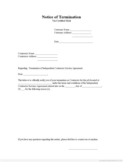 printable notice  termination template  sample