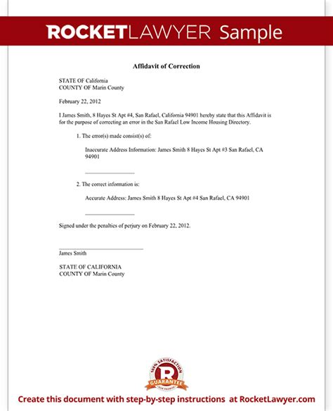affidavit  correction form correction affidavit sample