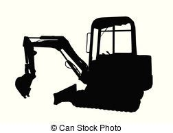 silhouette   excavator vector search clip art illustration drawings  eps graphics