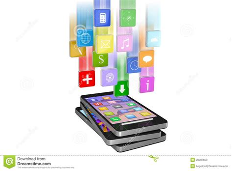 black modern smartphone with application icons on the smartphone with cloud of application icons in move