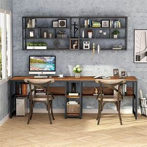 Tribesigns, Two, Person, Desk, With, Bookshelf, 78, U0026quot, Computer, Office, Double, Desk, Nt