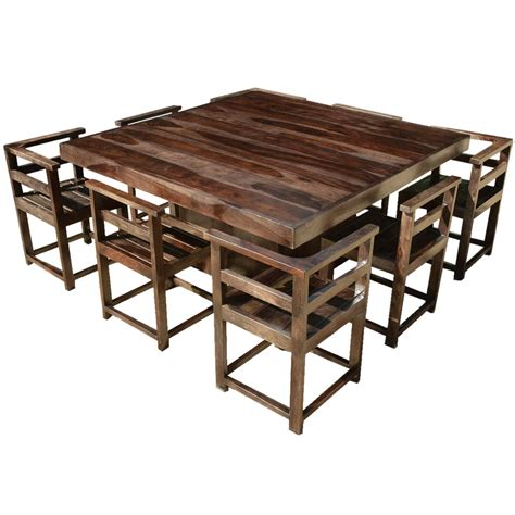 table and 8 chairs modern rustic solid wood 64 quot square pedestal dining table