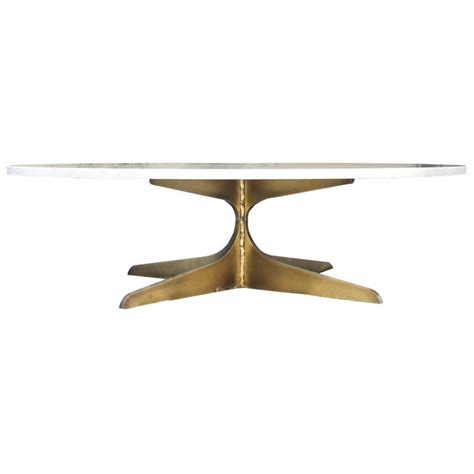 Handmade in spain from planks of american solid wood of the highest quality. Round Marble Coffee Table With Solid Brass Base | Chairish