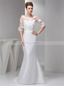 mermaid taffeta wedding gown with half sleeve appliqued top With wedding dresses half sleeve