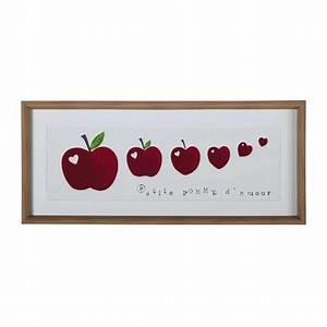 Tableau Enfant Bois : tableau enfant pommes en plastique effet bois rouge 35 x 80 cm farandole maisons du monde ~ Teatrodelosmanantiales.com Idées de Décoration