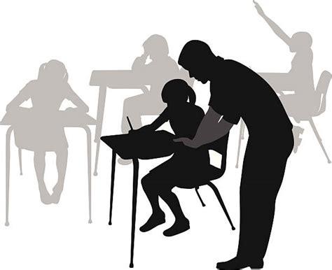 Royalty Free Teacher Helping Student Clip Art, Vector