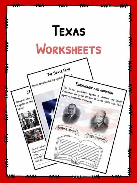 state  texas facts worksheets historical information