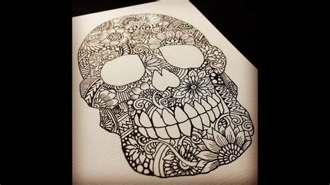 zentangle skull drawing process youtube