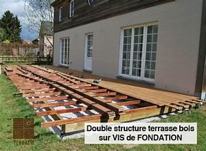 comment realiser une terrasse en bois sur un sol meuble With terrasse en bois sur plot