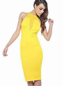 Fitted dresses Yellow cocktail dresses and Mesh on Pinterest