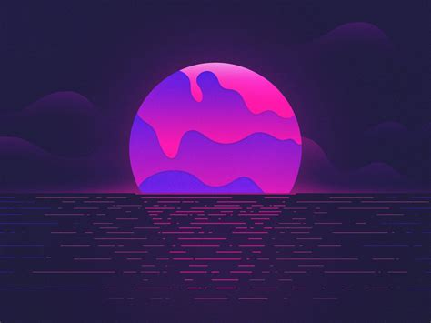 wallpaper sunset moon neon purple hd creative