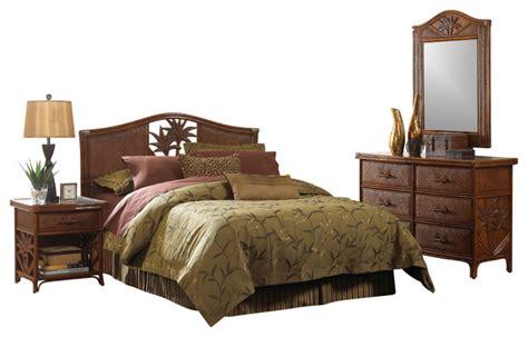 cancun palm tropical rattan  wicker  piece bedroom