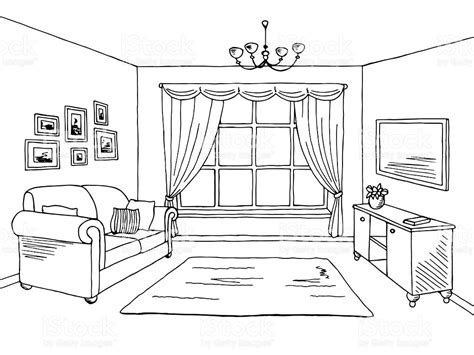 Modern Window Curtains For Living Room by Living Room Graphic Black White Interior Sketch