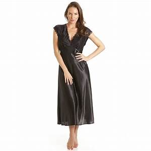 Womens Ladies Luxury Satin Black Sleepwear Nightdress ...