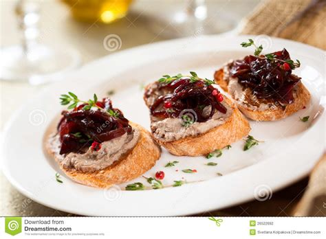 canapes with chicken liver pate stock photography image