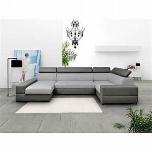 Canape Angle 6 7 Places : canap d 39 angle 6 places en u capri xxl tissu et simili cuir achat vente canap sofa ~ Maxctalentgroup.com Avis de Voitures