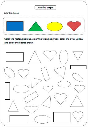 shapes worksheets  charts