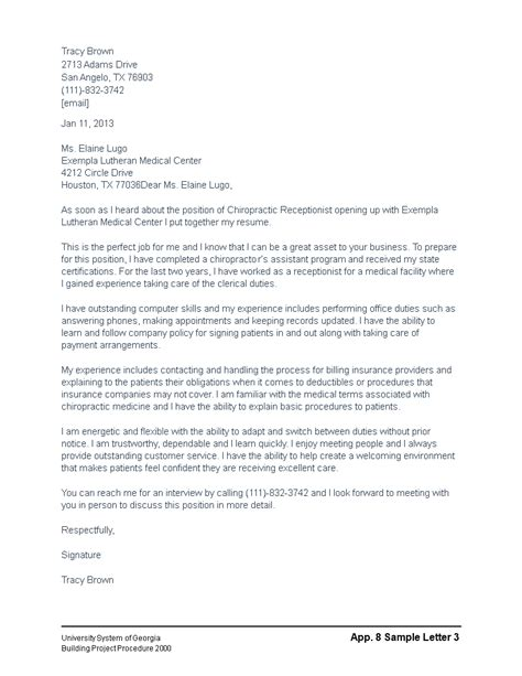 chiropractic cover letter templates