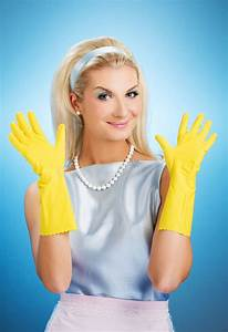 Housecleaning Duties Beautiful Happy Housewife Stock Photos Image 8096593