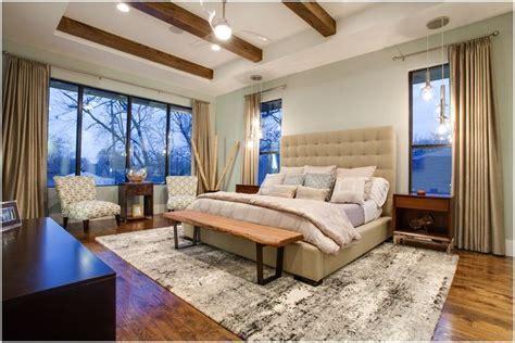 Dallas area rug beige curtains ceiling fan dark wood