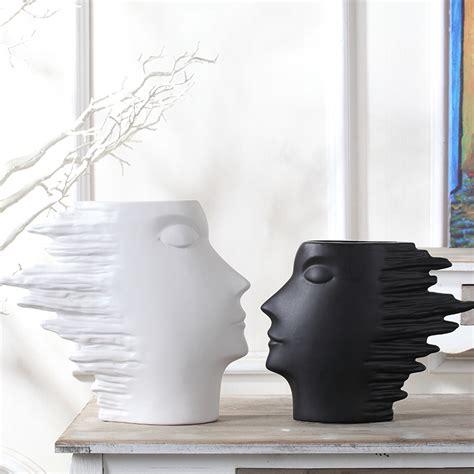 white black ceramic modern creative vase home decor crafts
