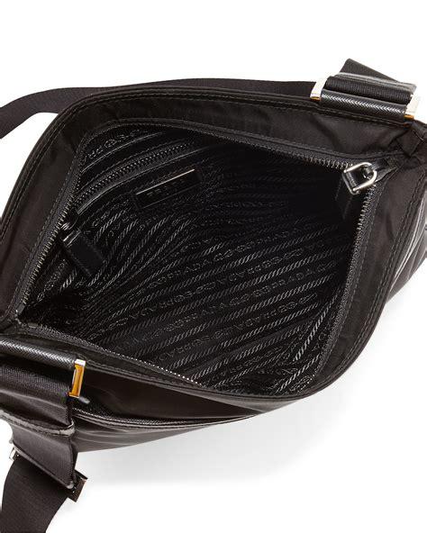 lyst prada nylon crossbody bag  black