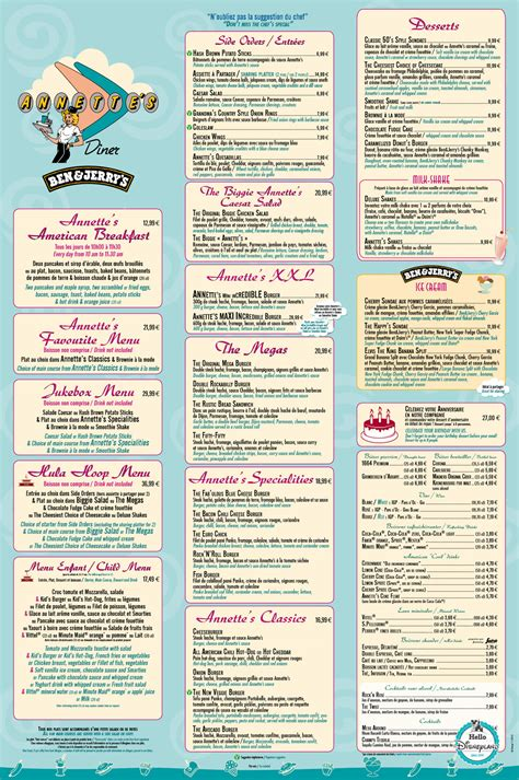 Carte De Menu Restaurant Pdf by Parcs Disney Et Disney Menus Cartes Des