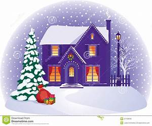 House In Winter Christmas Night Stock Vector ...