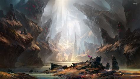 the cave and the light warrior under the light in the cave wallpaper fantasy