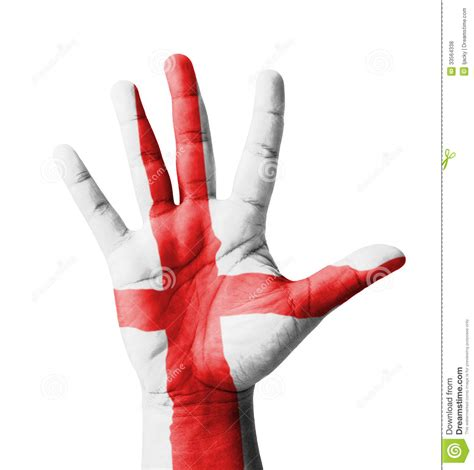 open hand raised england flag painted royalty  stock