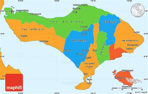 political simple map  bali