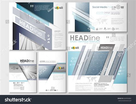 social media post template social media posts set business templates stock vector 604994882