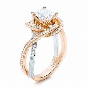 custom rose gold and platinum diamond engagement ring 101749 With platinum and gold wedding ring