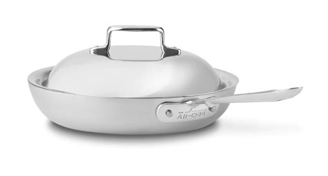 clad  brushed stainless nonstick french skillet  domed lid  cutlery