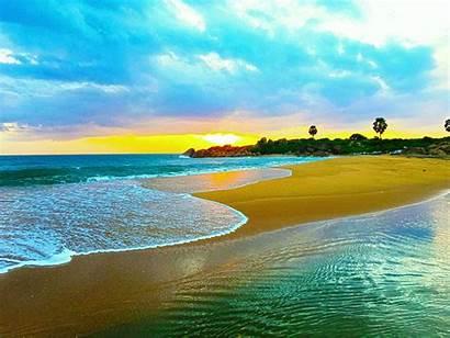 Lanka Sri Nature Beach Waves Sand Brown